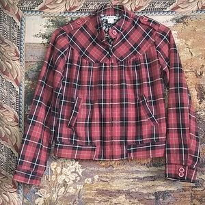 Forever 21 Rose/Black Plaid Jacket Size Medium